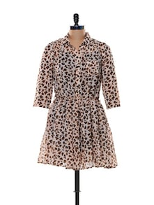 Tiger Print Poly Chiffon Dress - Trend 18