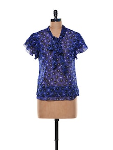 Floral Printed Blue Sheer Top - Trend 18