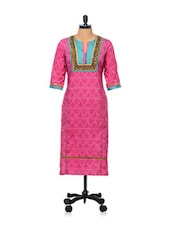 Pink Printed Kurti With  Embroidered Yoke - AFSANA