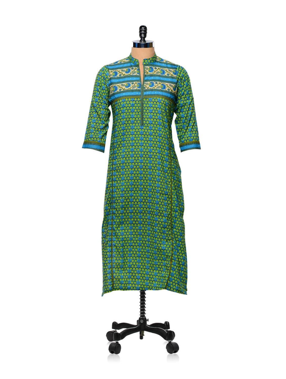 Green And Blue Printed Kurti - AFSANA