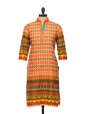 Orange Printed Kurti - AFSANA