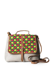 Multicolour Small Sling Bag With Embroidered Flap - DESI DRAMA QUEEN