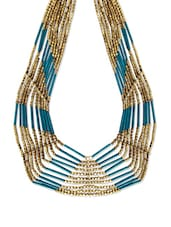 Gold And Teal Beaded Layered Necklace - Thegudlook