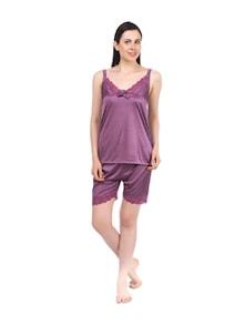 Purple Piquant Satin Pajama Set - Fasense