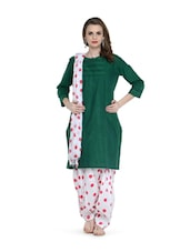 White And Red Polka-Dot Salwar And Dupatta Set - STRI