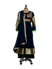 Elegant Navy Blue Anarkali With Golden Yoke - Sanchey