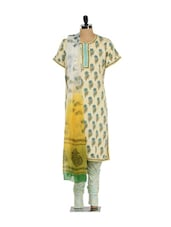 Floral Print Ethnic Churidar Suit - KILOL