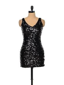 Sequinned Black Dress - TREND SHOP