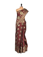 Black-maroon Faux Chanderi Cotton Silk Saree - Bunkar