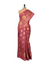 Pink Faux Chanderi Cotton Silk Saree - Bunkar
