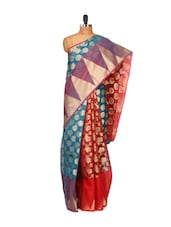 Red And Blue Cotton Silk Saree - Bunkar