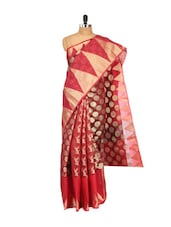 Red And Maroon Cotton Silk Saree - Bunkar