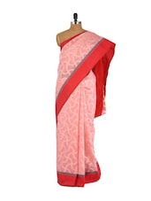 Pink And Red Cotton Silk Saree - Bunkar