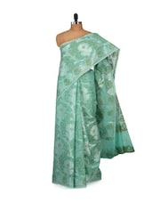 Green And White Cotton Silk Saree - Bunkar