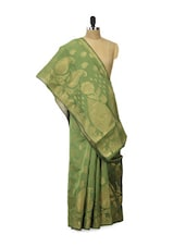 Mehendi Green And Gold Saree - Bunkar