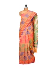 Peach Cotton Silk Saree - Bunkar