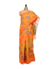 Orange Cotton Silk Saree - Bunkar