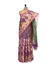 Purple And Gold Faux Cotton Silk Saree - Bunkar