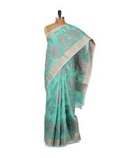 Floral Printed Green Cotton Silk Saree - Bunkar
