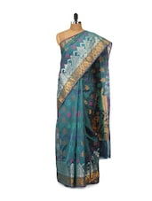 Greenish Blue Printed Cotton Silk Saree - Bunkar