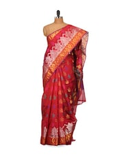 Red Printed Cotton Silk Saree - Bunkar