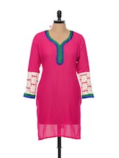 Sheer Pink Cotton Lace Trimmed Kurti - By