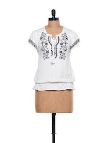 Embroidered Peasant Top - CHERYMOYA