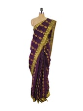 Purple Kanchipuram Pattu Silk Saree With Zari Work - Pothys