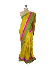 Yellow Kanchipuram Parampara Pattu Silk Saree With Zari & Jacquard Work - Pothys