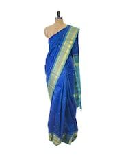 Blue Kanchipuram Handloom Silk Saree With Zari & Jacquard Work - Pothys