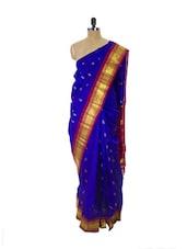 Indigo Blue Kanchipuram Handloom Silk Saree With Zari & Jacquard Work Magenta Border - Pothys