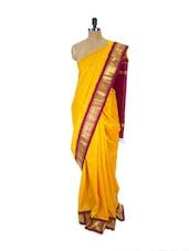 Yellow Kanchipuram Handloom Silk Saree With Zari & Jacquard Work Gold Border - Pothys