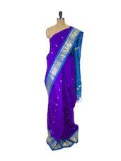 Purple Kanchipuram Silk Saree With Zari & Work Blue Border - Pothys