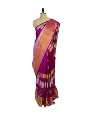 Magenta Kanchipuram Uppada Pattu Silk Saree With Zari Work - Pothys