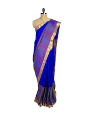 Blue Kanchipuram Mayuri Men Pattu Silk Saree - Pothys