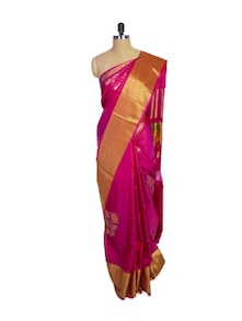 Pink Kanchipuram Mayuri Men Pattu Silk Saree With Gold Zari Border - Pothys