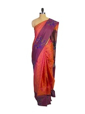 Orange Kanchipuram Mayuri Men Pattu Silk Saree With Purple Zari Border - Pothys