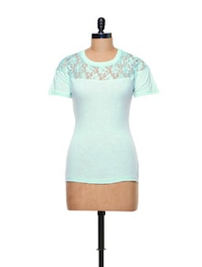 Simple Blue Lacy Cotton Knit Top - CHERYMOYA