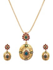 Gold Stone-studded Floral Necklace And Earrings Set - Vendee Fashion