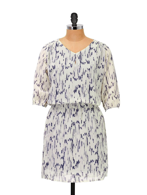 Blue And White Printed Short Dress - Femella