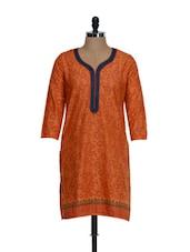Orange Full Sleeved Printed Cotton Kurta - Facon