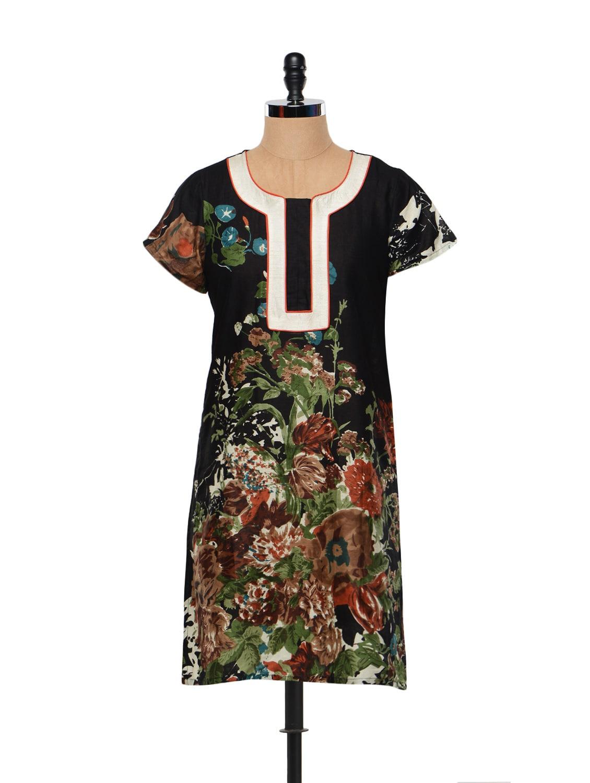 Black Cotton Kurta With Multi-colored Floral Prints - M MERI