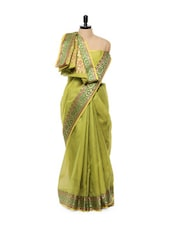 Moss Green Cotton Silk Saree - Mandala