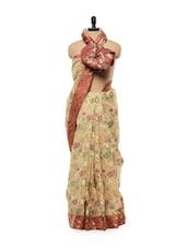 Beige Handloom Banarasi Silk Saree With Red Border - Mandala