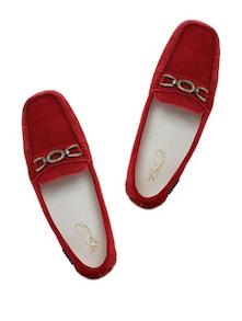 Red Leather Loafers - La Briza