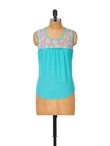 Lace Trim Cotton Blue Top - Popnetic