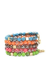 Colourful Beads Spiral Loop Bracelet - Blueberry