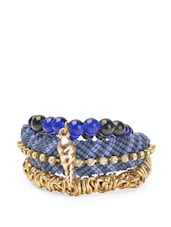 Blue And Gold Bunch Bracelets (set Of 3) - Blueberry