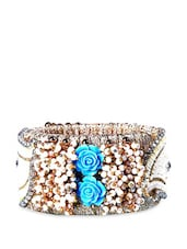 Acrylic Beads Kada With Blue Rose Embellishments - Blingles