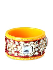Yellow And Maroon Kada With White Beads And Stones - Blingles